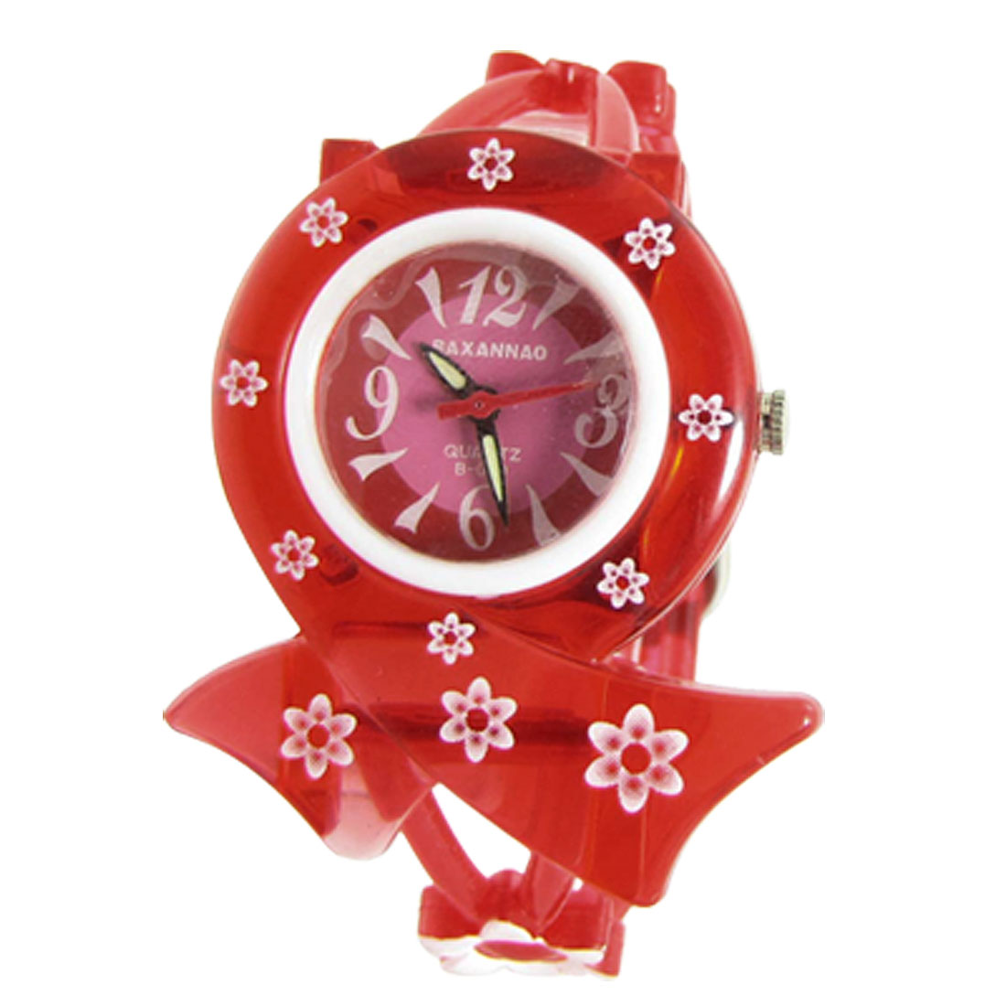 Girls Flower Decor Red Soft Plastic Band Round Dial Sports Watch