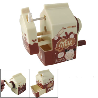 Milk Pack Shape Hand Rotating Plastic Pencil Sharpener