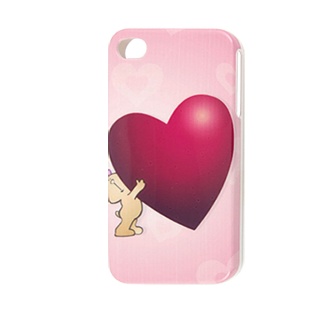 Burgundy Heart Prints Pink IMD Hard Plastic Back Case for iPhone 4 4G