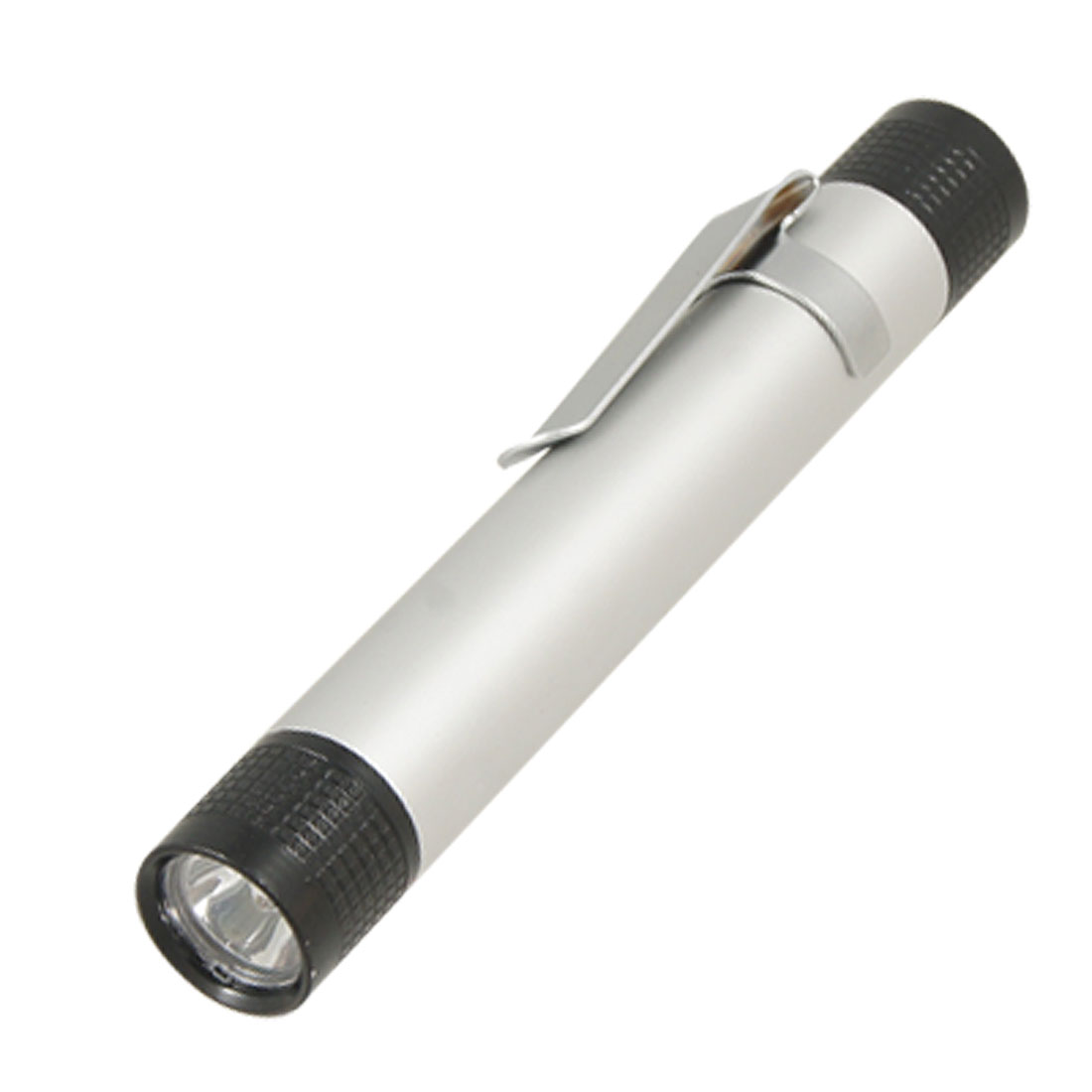 White LED Silver Tone Black Aluminum Shell Pen Design Flashlight Torch