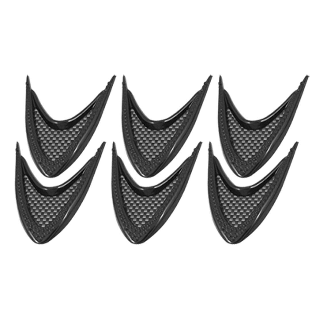 6 Pcs Plastic Black Adhesive Door Protector Sticker Car Ornament