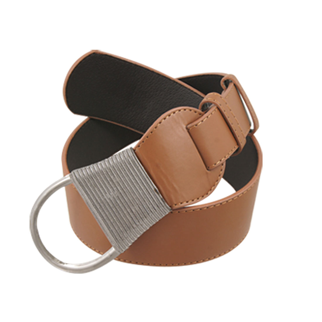 Ladies Metal Buckle Brown Faux Leather Stitched Belt