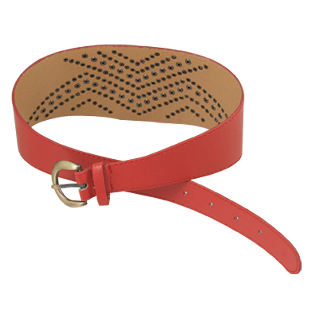Ladies Rivet Accent Red Faux Leather Triangle Cinch Belt