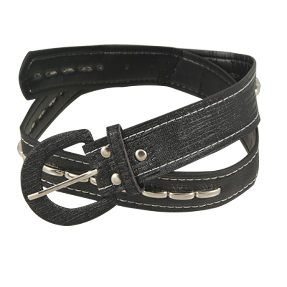 Ladies Silver Tone Metal Accent Black Faux Leather Belt