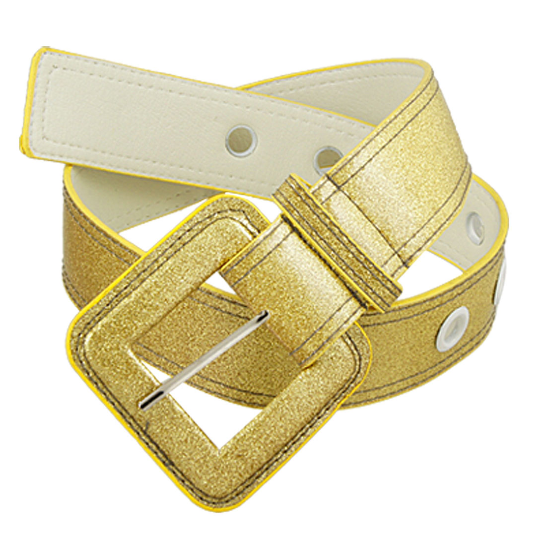 Ladies Gold Tone Faux Leather Single Prong Buckle Waist Belt