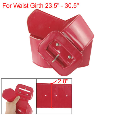 Lady Single Pin Rectangle Buckle Red Faux Leather Belt