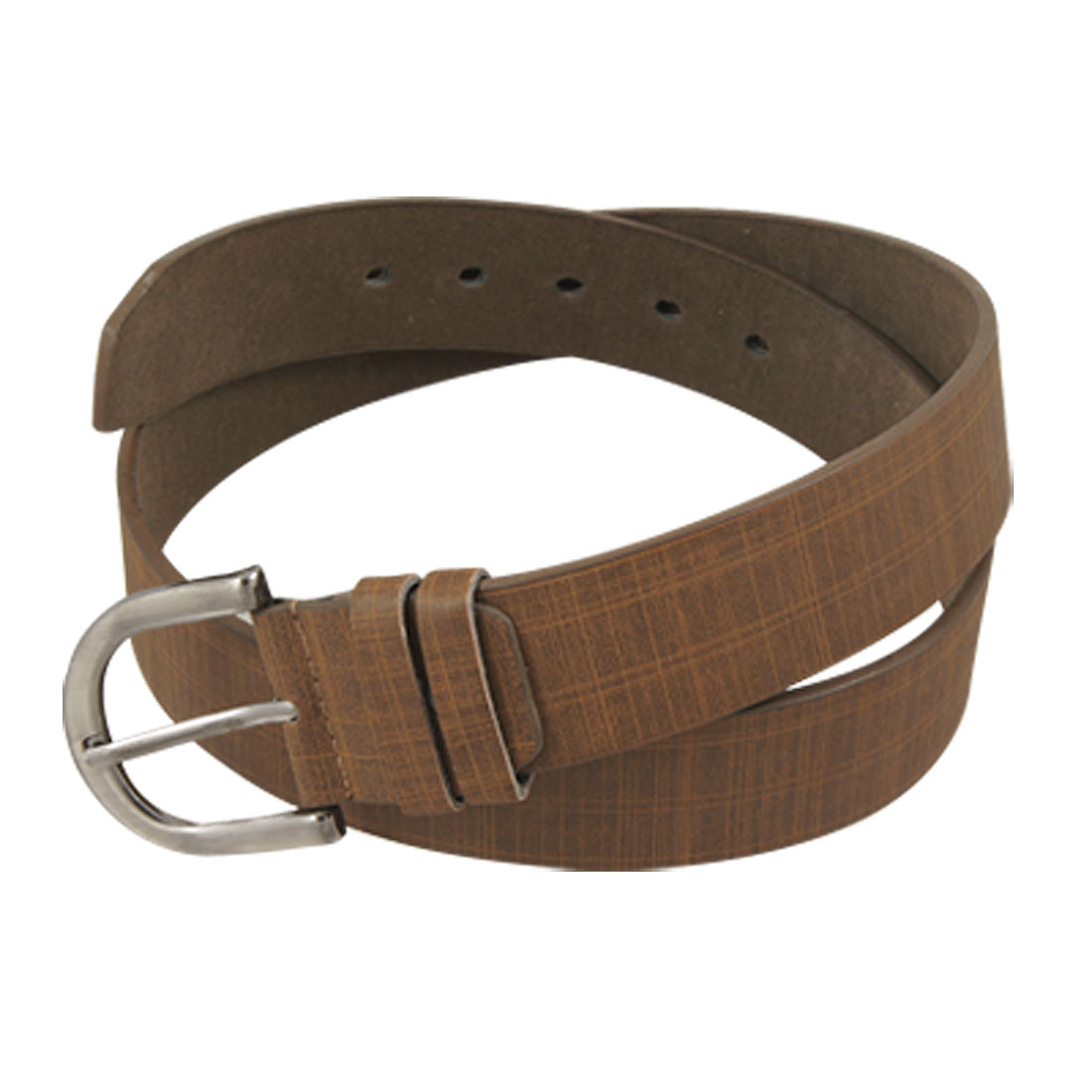 Single Prong Buckle Pin Striped Decor Brown Faux Leather Belt for Lady