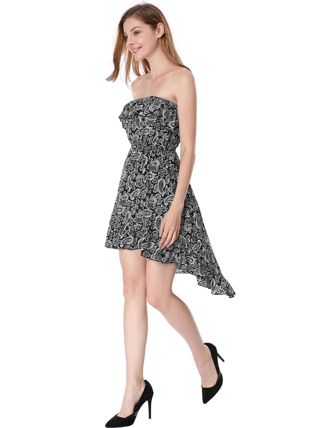 Ladies Asymmetrical Hem Floral Flounce Tube Dress Black XS