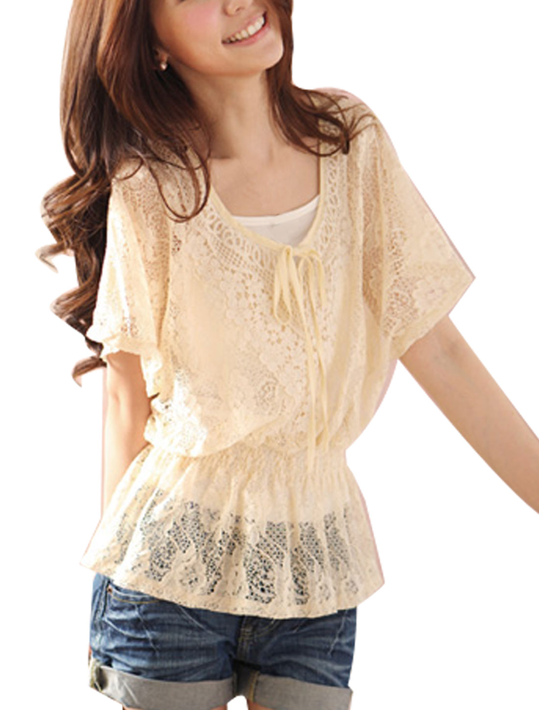 Lady Beige Sheer Floral Lace Blouse w White Tank Top XS