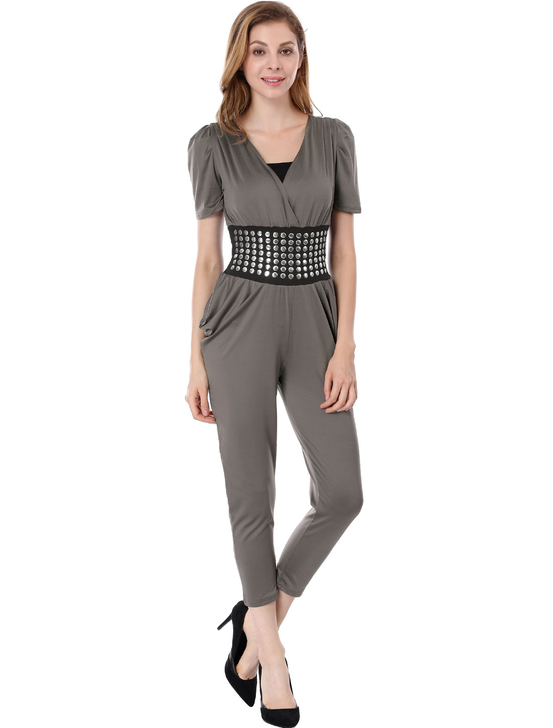 Lady Cross V Neck Studded Waist Harem Pants Jumpsuit XS