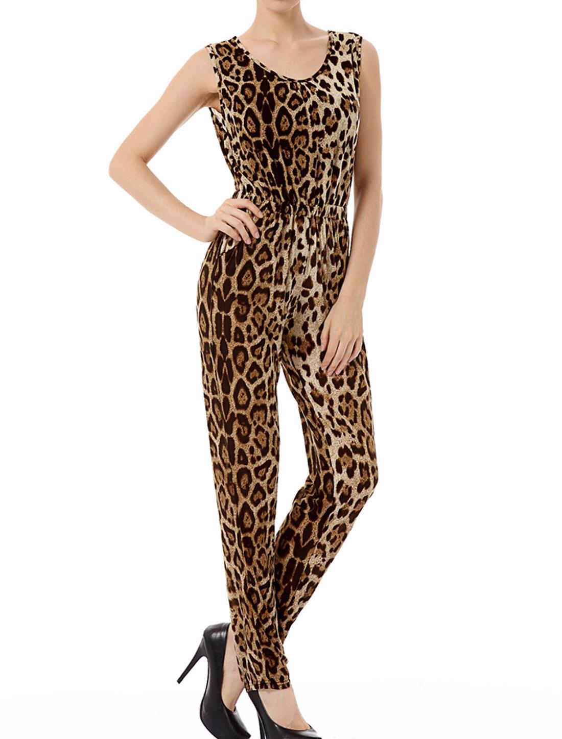 Lady Scoop Neck Elastic Waist Leopard Print Jumpsuit S