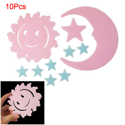 Pink Blue Sun Moon Star Luminous Stickers Decor 10 Pcs