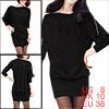 Allegra K Ladies Zipper Neck Long Batwing Sleeve Casual Dress Blacks M