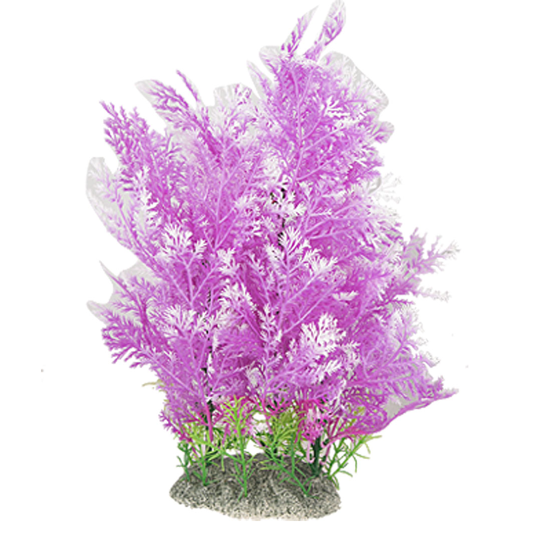 Ceramic Base Purple White Aquascaping Plastic Grass for Fish Tank