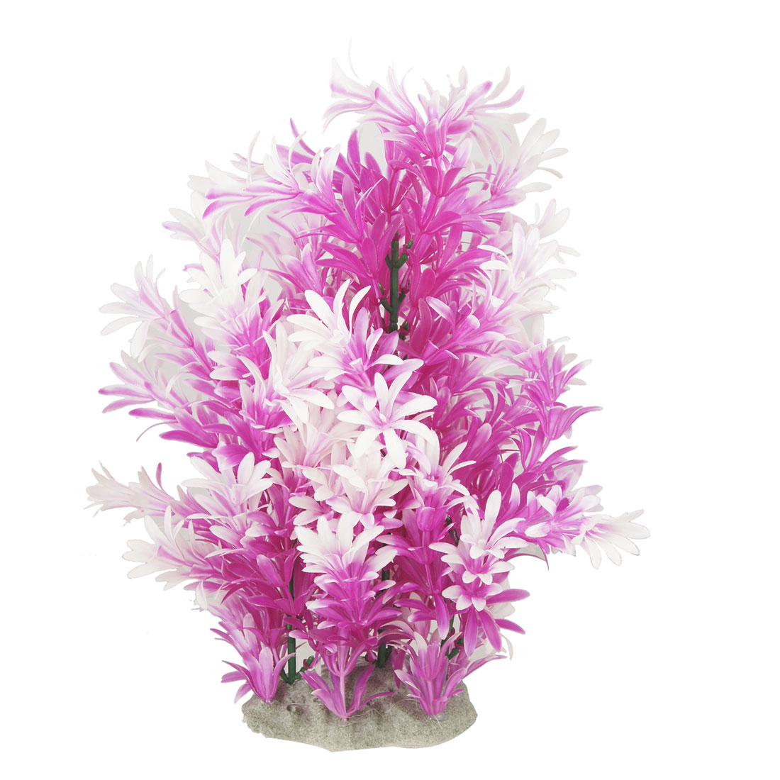Purple White Underwater Plastic Grass Decoration for Fish Tank