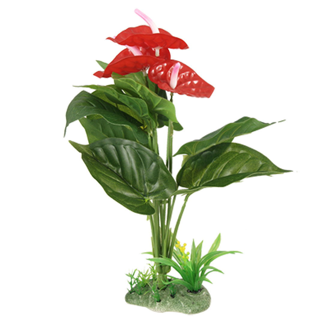 Red Green Calla Style Aquascaping Plastic Plant for Fish Tank