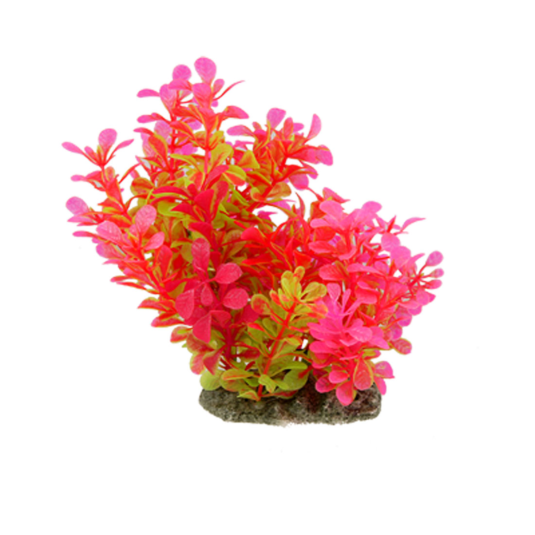 Hot Magenta Green Underwater Plastic Grass Ornament for Aquarium