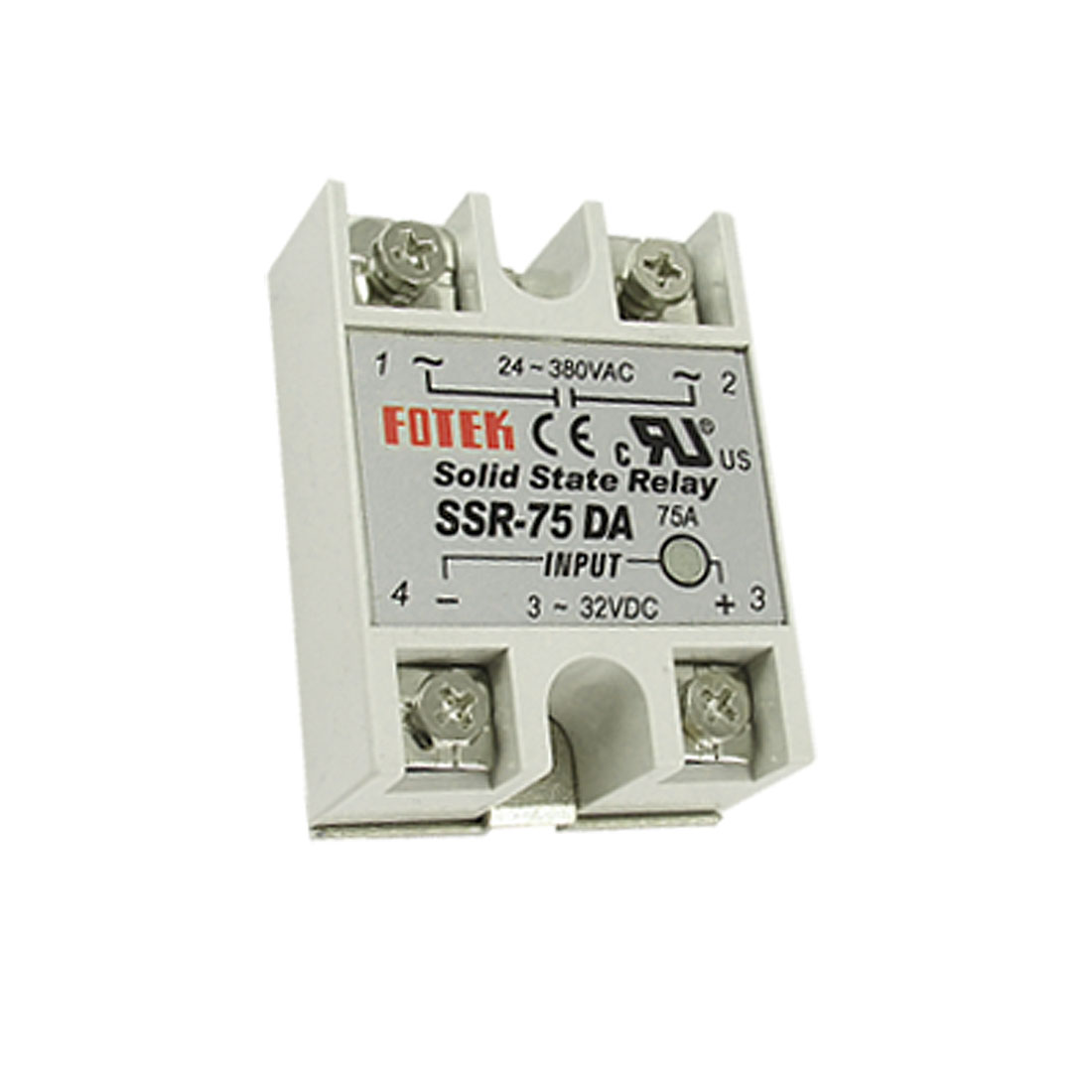 DC to AC Single Phase Solid State Relay SSR-75DA 75A 3-32V DC 24-380V AC