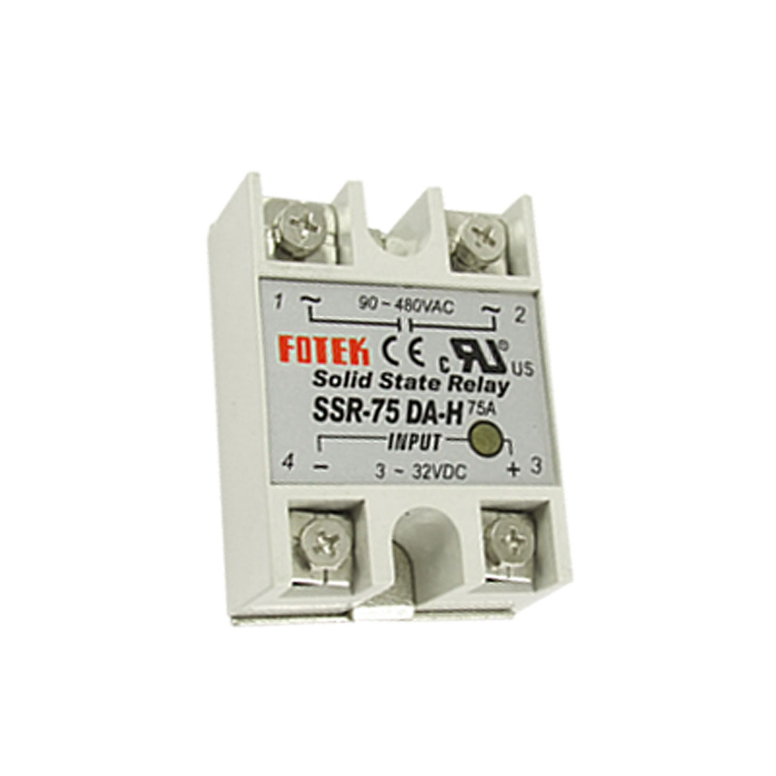 DC to AC 75A Single Phase SSR Solid State Relay Output 90-480VAC