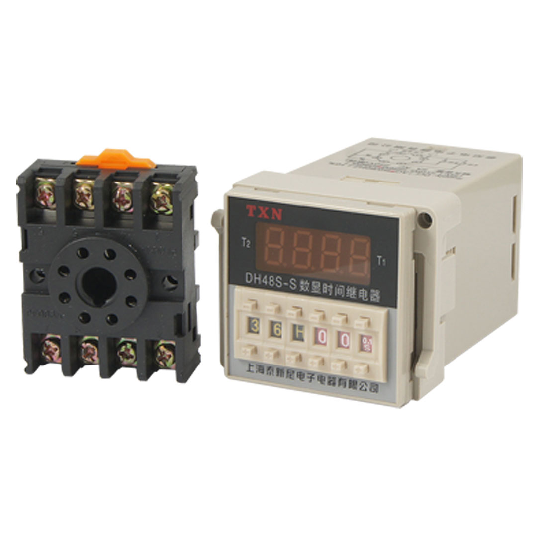AC 220V Digital Timer Programmable Circle Double Time Delay Relay DH48S-S w Base