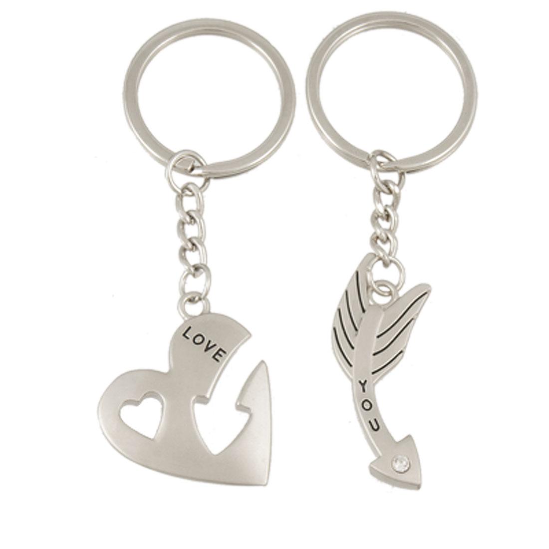 2 Pcs Heart Arrow Pendant Couple Key Chain Keychain