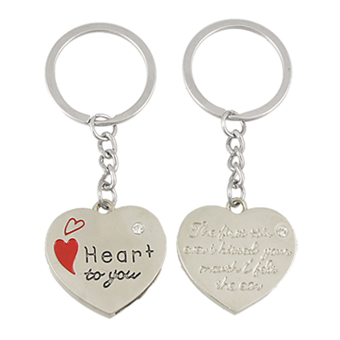 2 Pcs Dual Heart Pendant Couple Alloy Key Chain Keychain