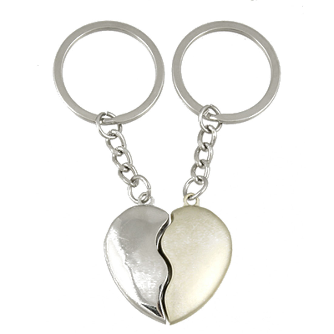 Couples Lovers Alloy Split Heart Pendant Keychain Key Ring Chain 2 Pcs