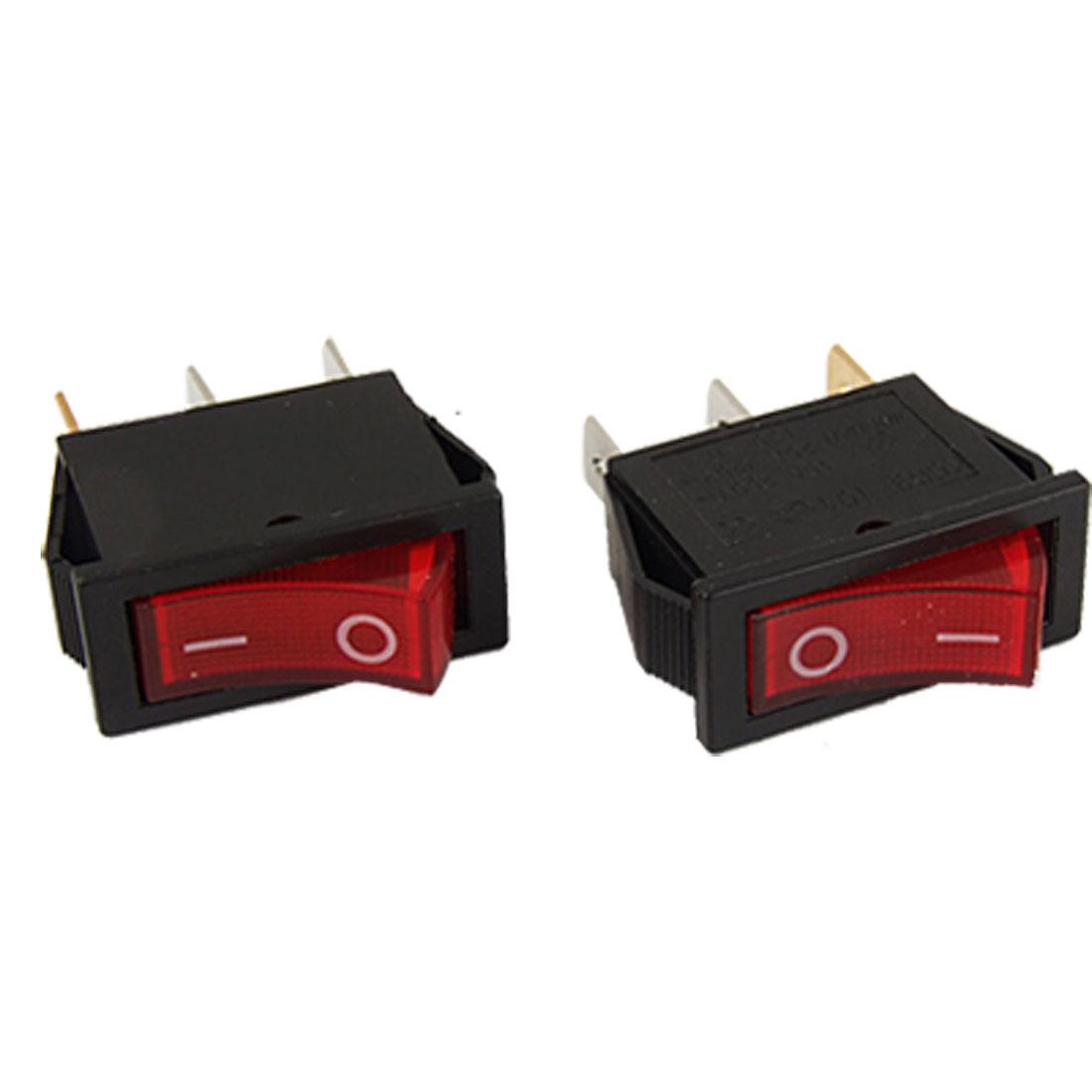 AC 15A/250V 20A/125V Red Light ON/OFF 2 Position SPST Boat Rocker Switch 2pcs