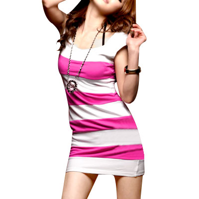 Ladies Sleeveless White Fuchsia Stripe Scoop Neck Mini Dress XS