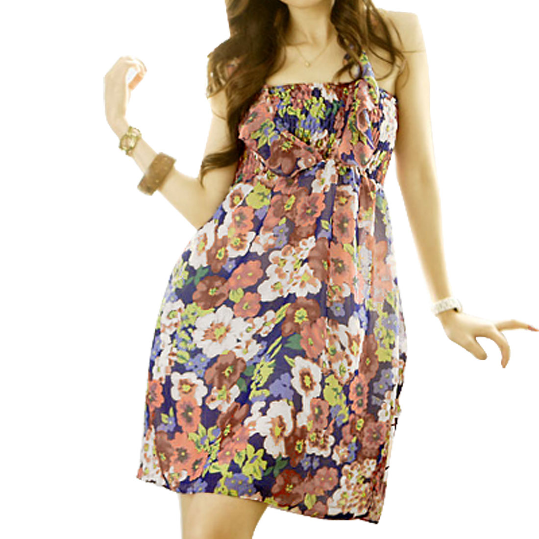 Ladies Ruffle Bust Allover Floral Dress Colorful XS