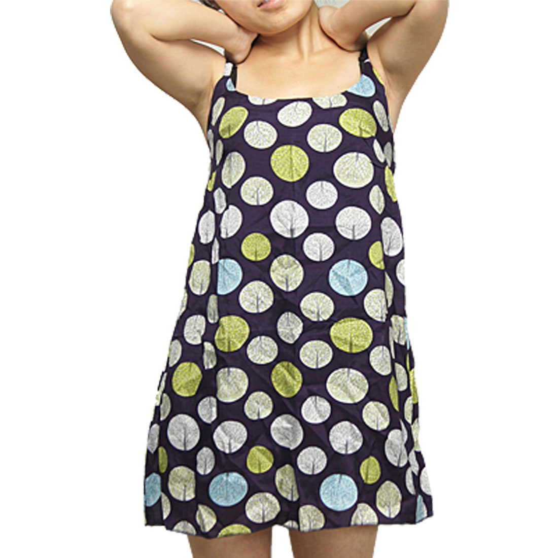 Girls Mini Tree Plants Printed Adjustable Spaghetti Strap Dress