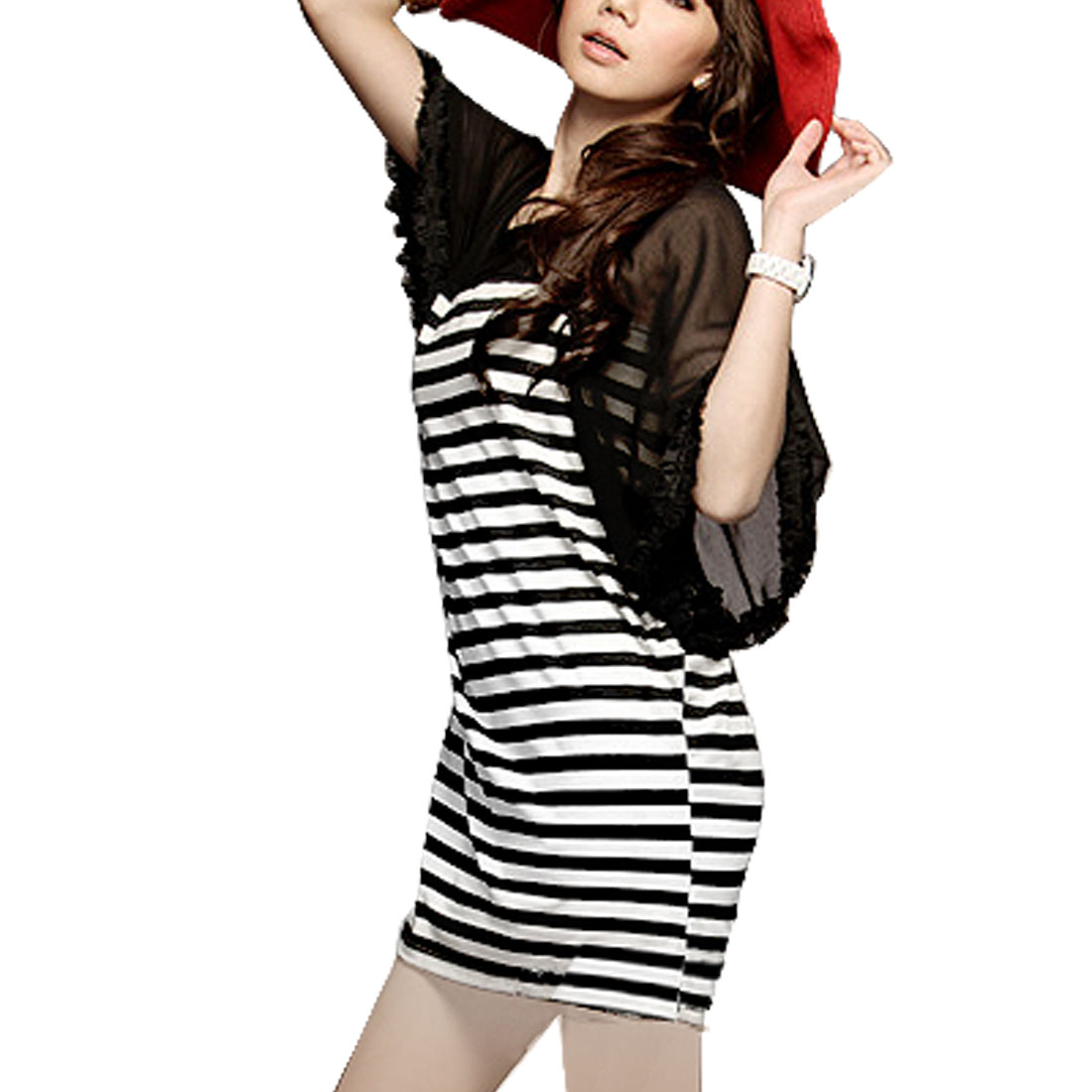 Lady Black White Boat Neck Flutter Chiffon Sleeve Striped Dress S