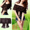 Lady Flowers Prints Chiffon Off Shoulder Shirt Top Black XS