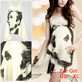 Portrait Printed Sleeveless U Neck Tank Dress for Girls