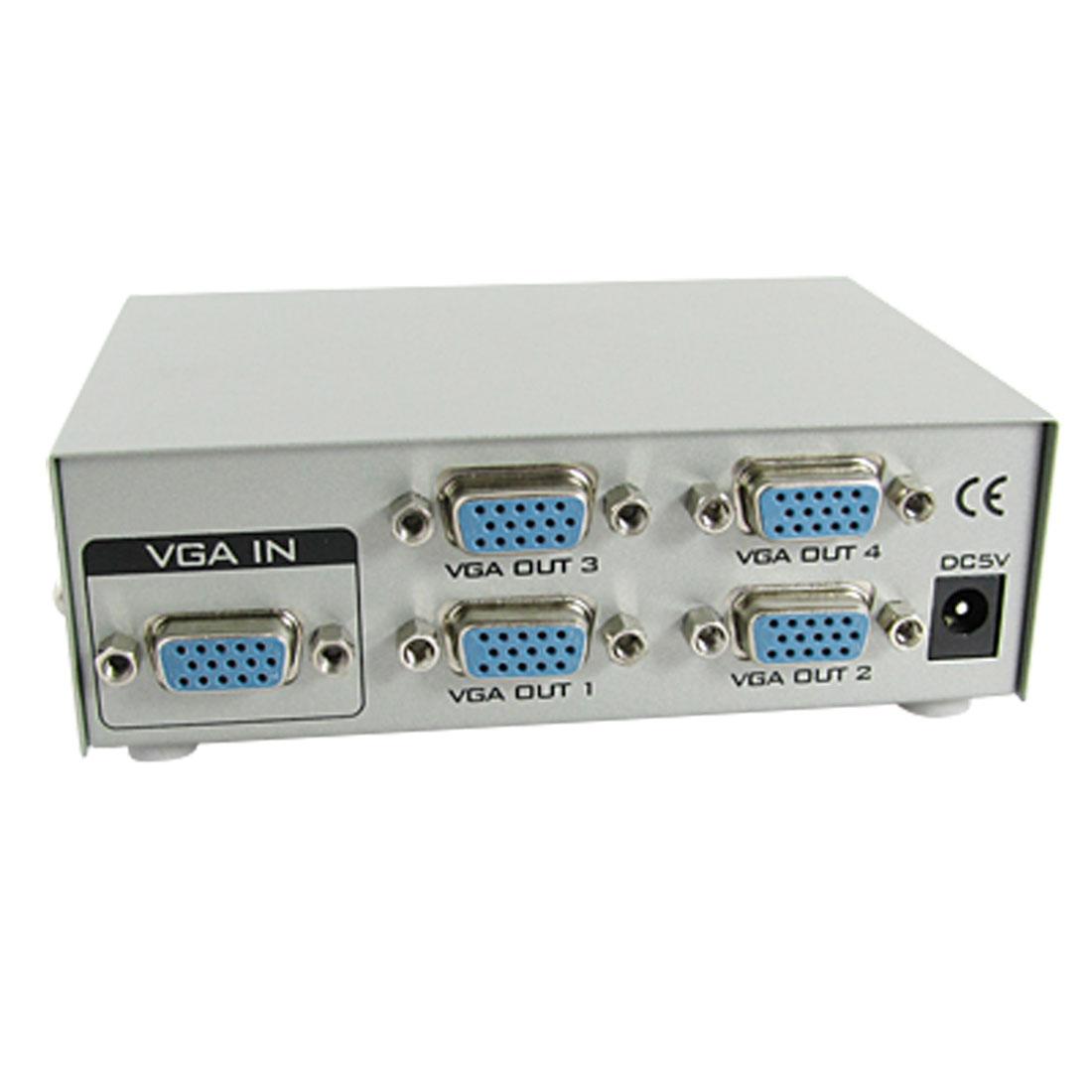 US Plug AC 110-240V 4 Port VGA Video Display Splitter 150MHz w Charger DC 5V