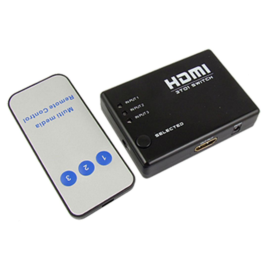 Black LED Indicator 3 HDMI Ports Auto Amplifier Switcher w Remote Control