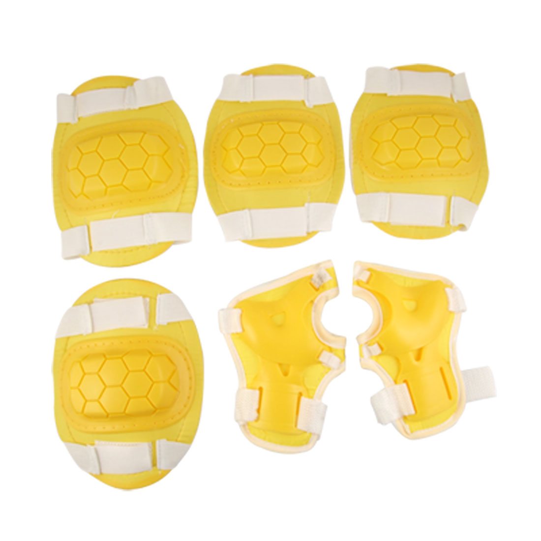 Children Yellow White Sports Skating Elbow Knee Wrist Pad Support Set