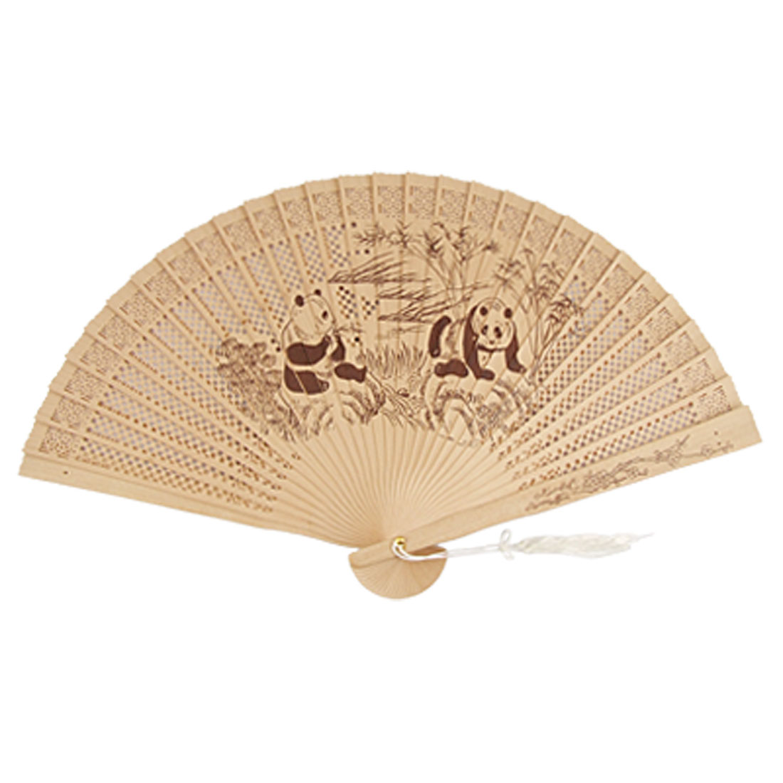 Pandas Bamboo Carved Traditional Foldable Scented Wooden Fan