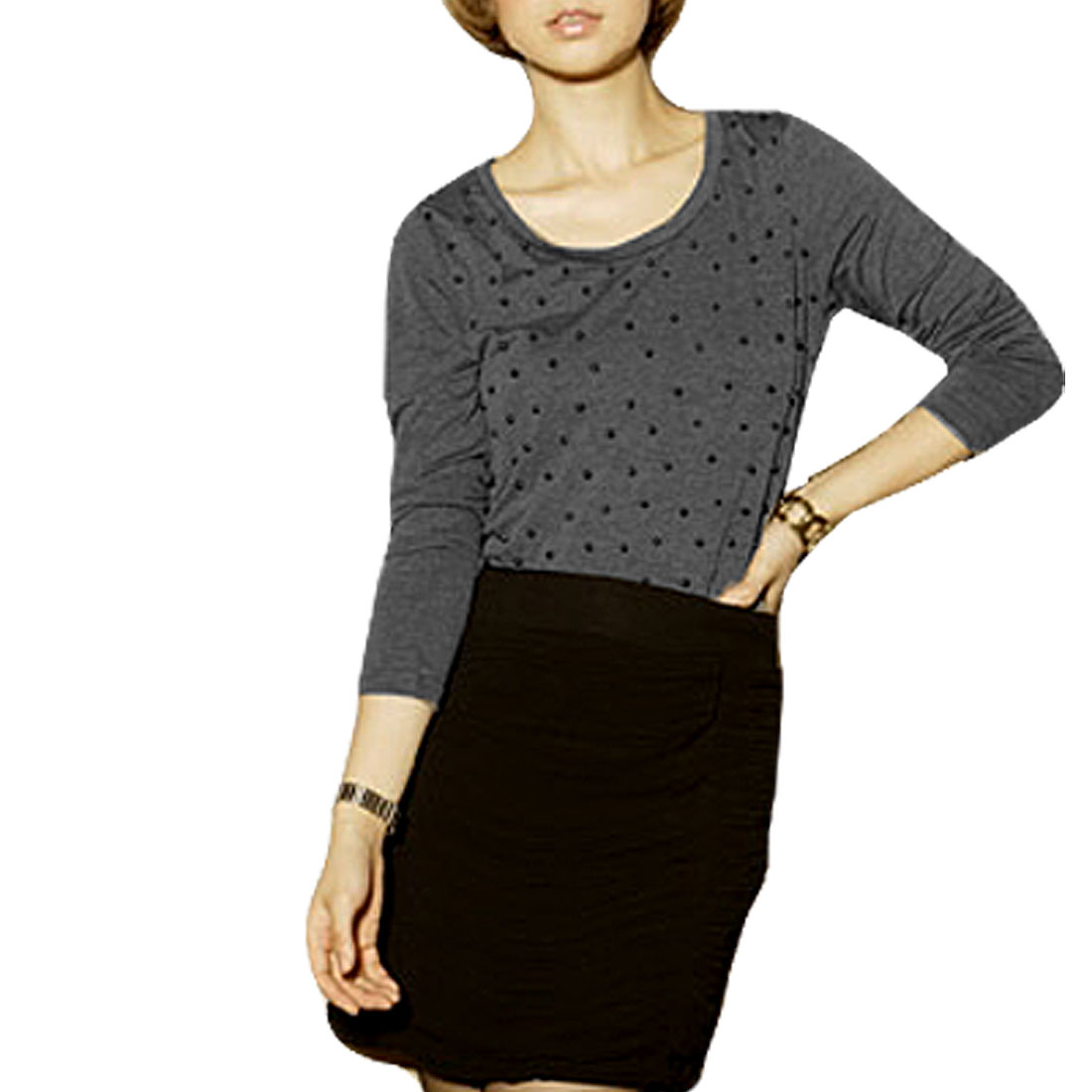 Gray Round Neck Long Sleeve Asymmetrical Round Hem Shirt XS for Lady
