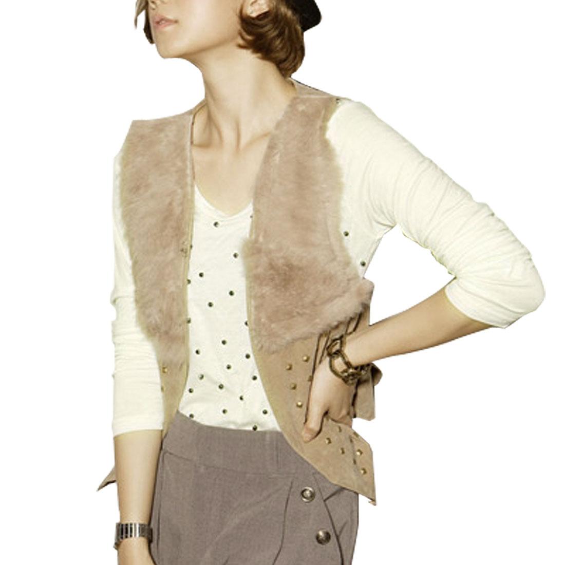 Ladies White Round Neck Long Sleeve Beads Detail Shirt Top XS