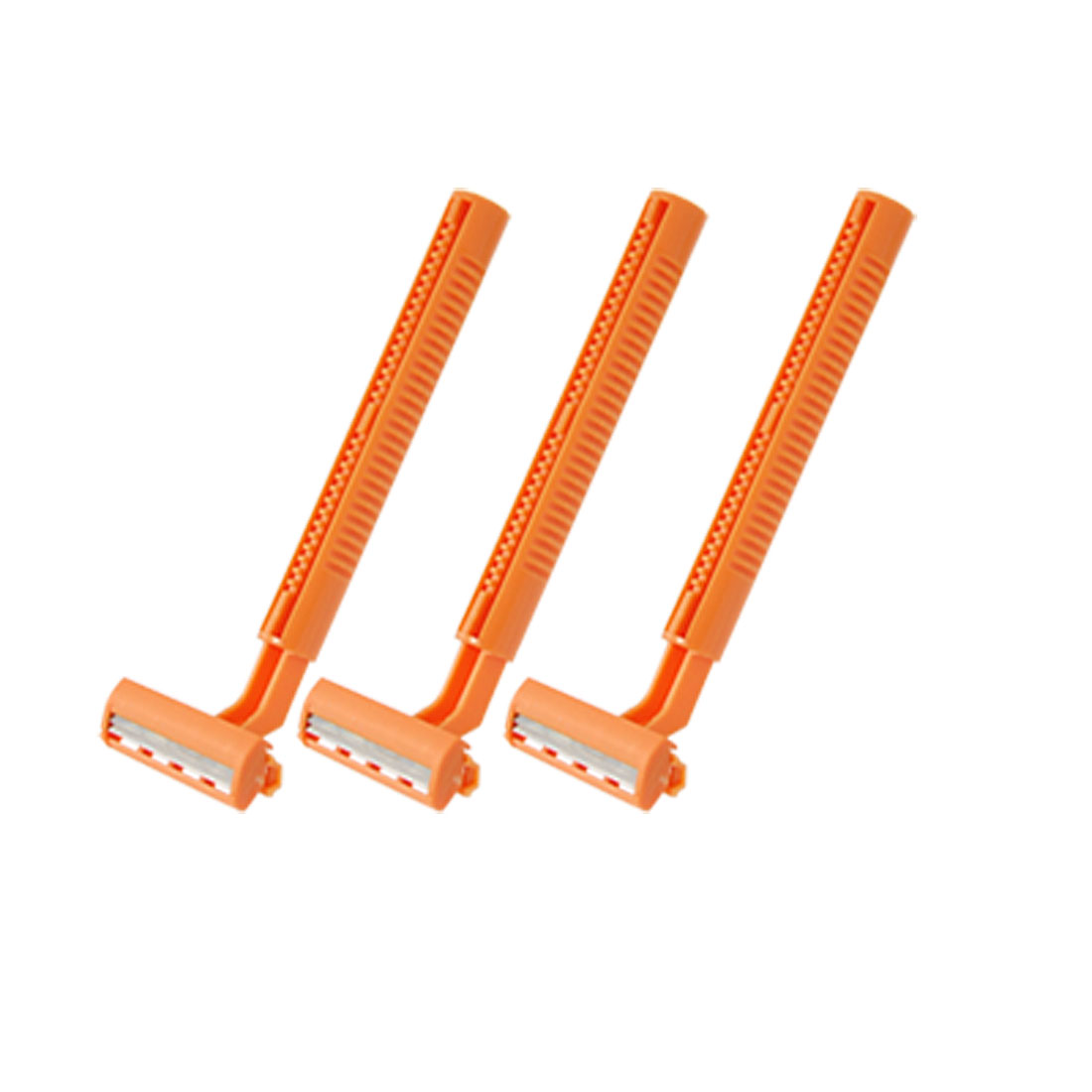 Orange Handle T Shaped Body Hair Removal Trimmer Razor 3 Pcs