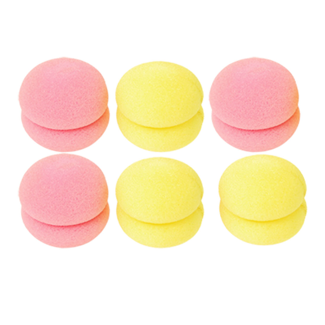 6 Pcs Pink Yellow Sponge Ball Hair Styler Curler Roller for Lady