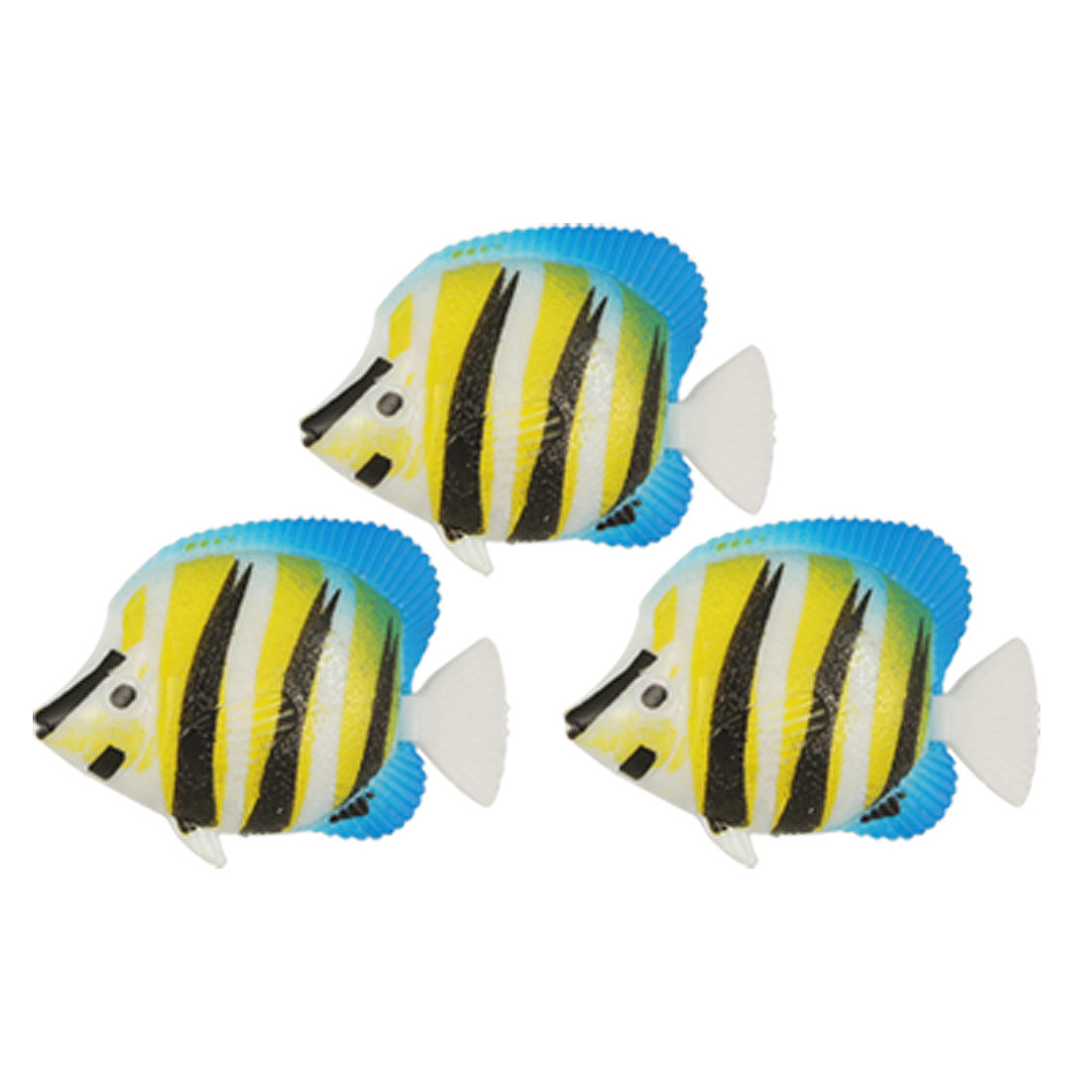 3 Pcs Black Yellow Stripe Mini Plastic Floating Fish for Aquarium Tank Decor