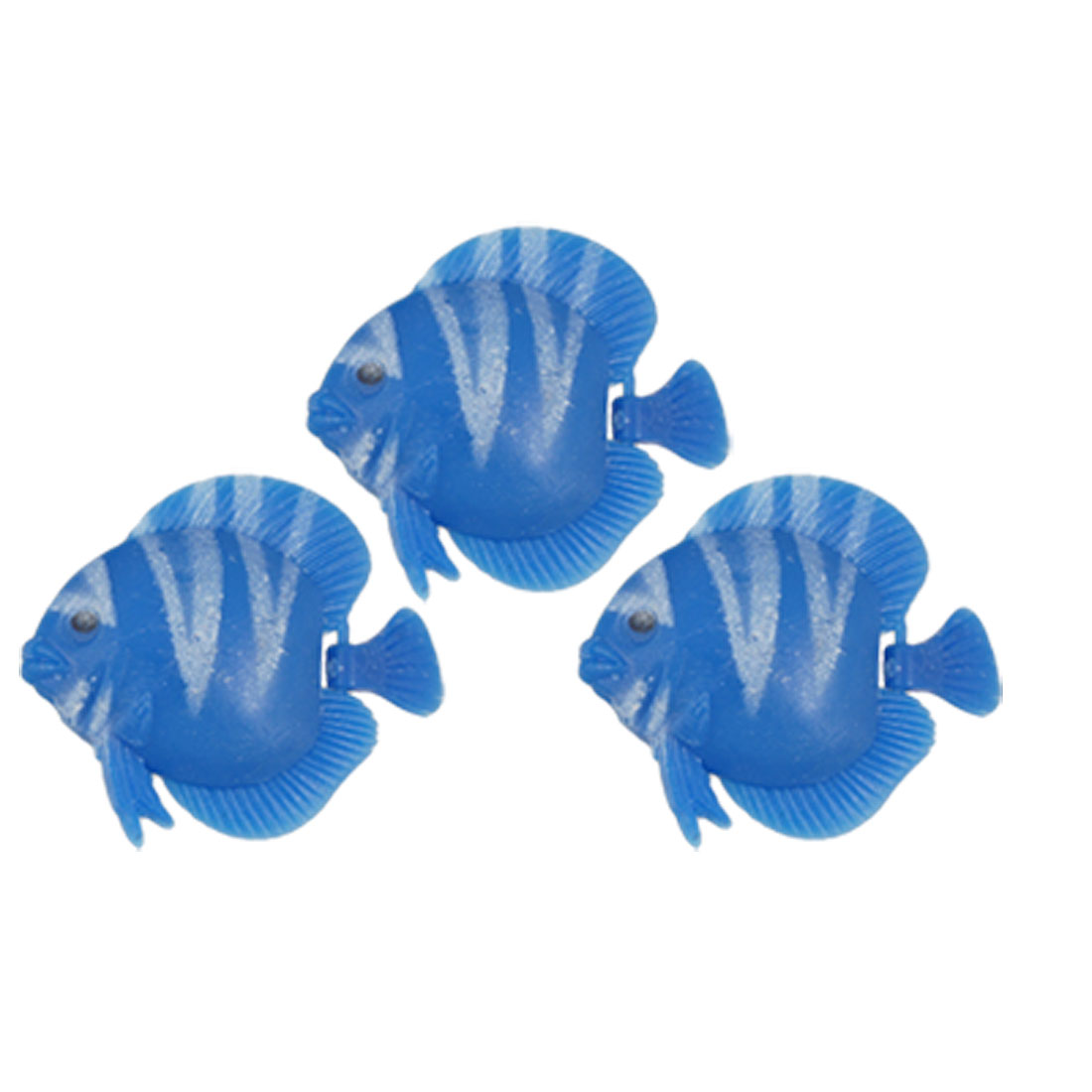 3 Pcs Blue White Mini Plastic Floating Fish Aquarium Ornament