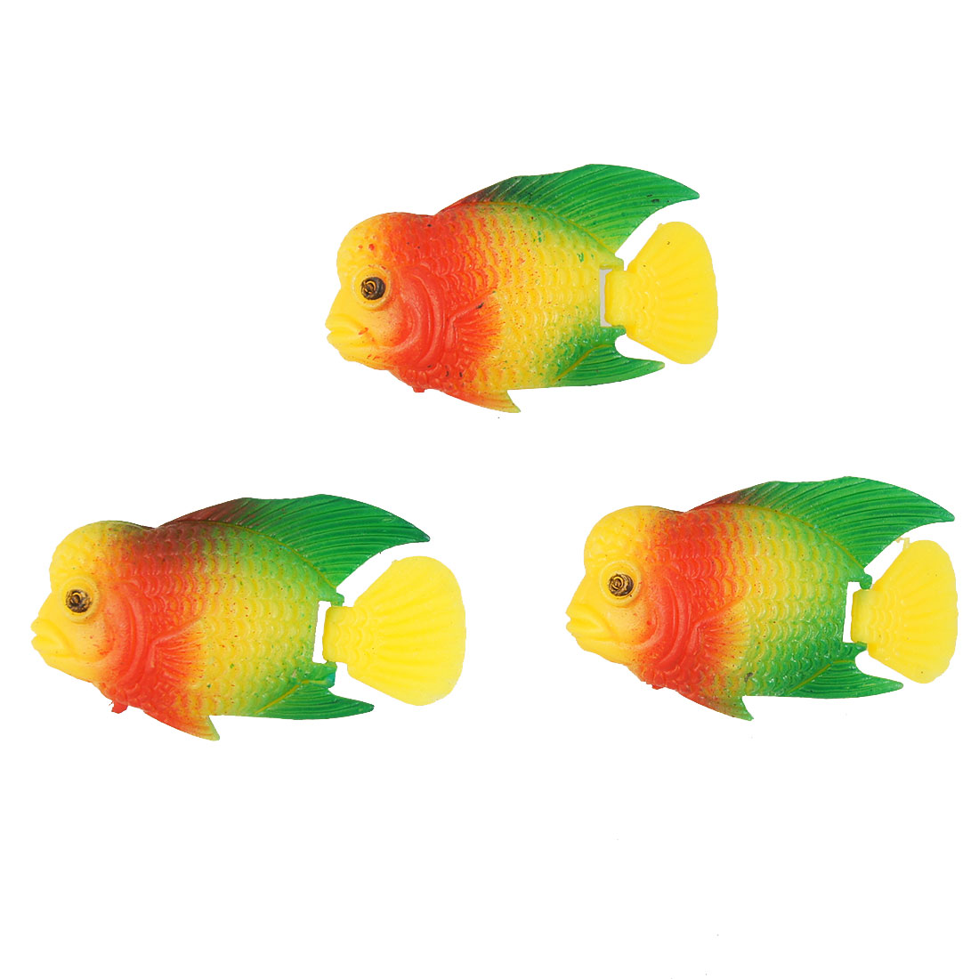 Aquarium Mini Plastic Yellow Flexible Tail Floating Fish 3 Pcs