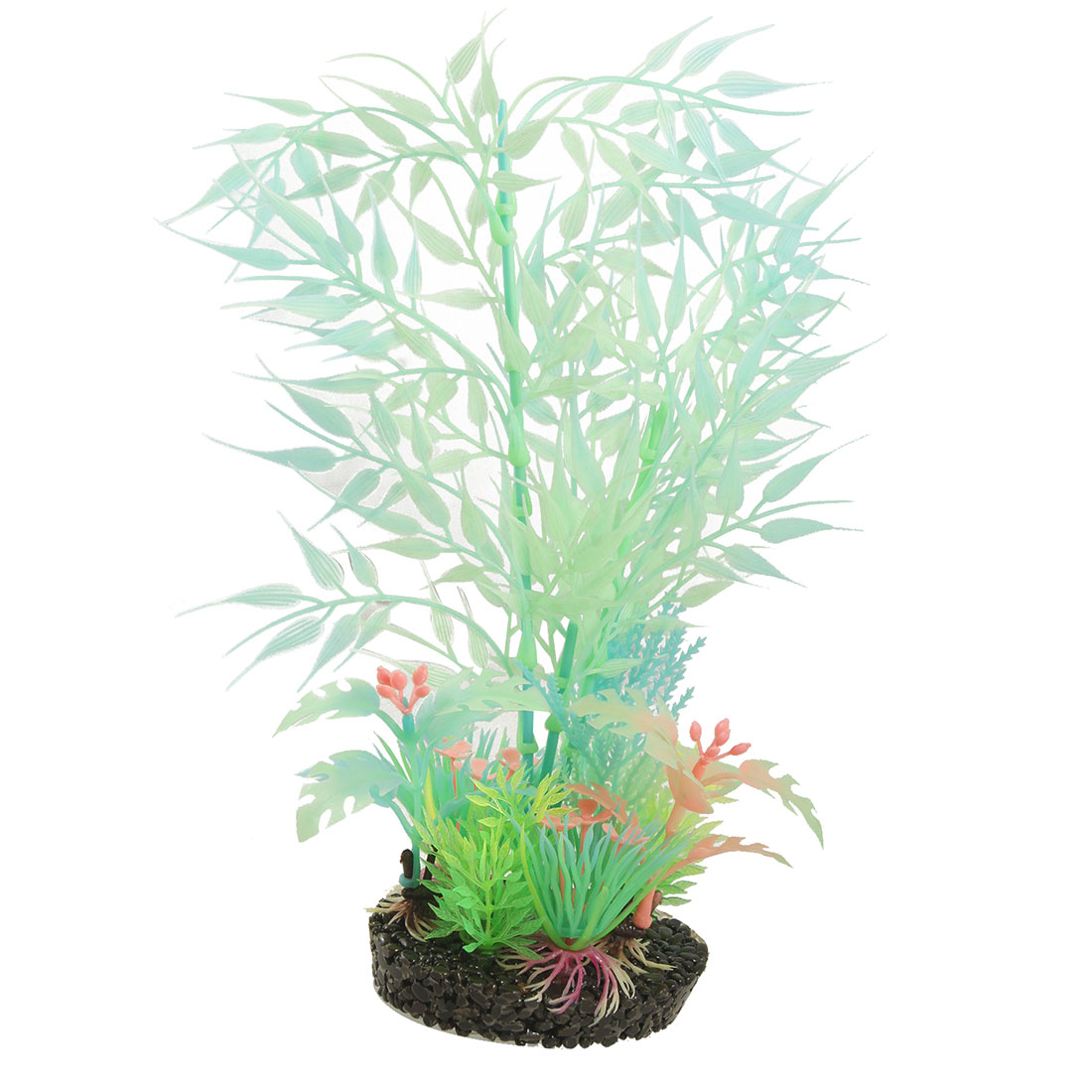 Aquarium Fish Tank Fluorescent Plastic Plants w Ceramic Base