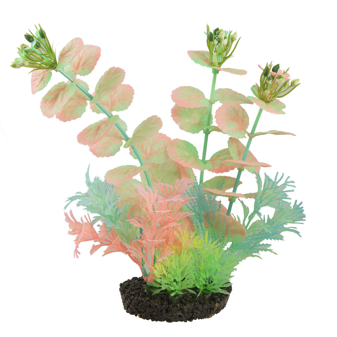 Fluorescent Plastic Plants Aquarium Fish Tank Ornament w Base