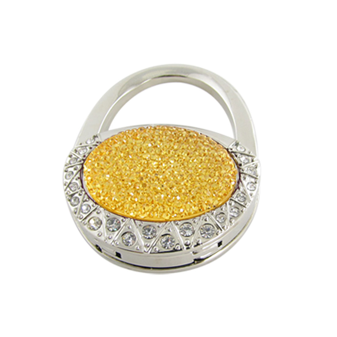 Antislip Rubber Base Yellow Crystal Inlaid Hangbag Hook