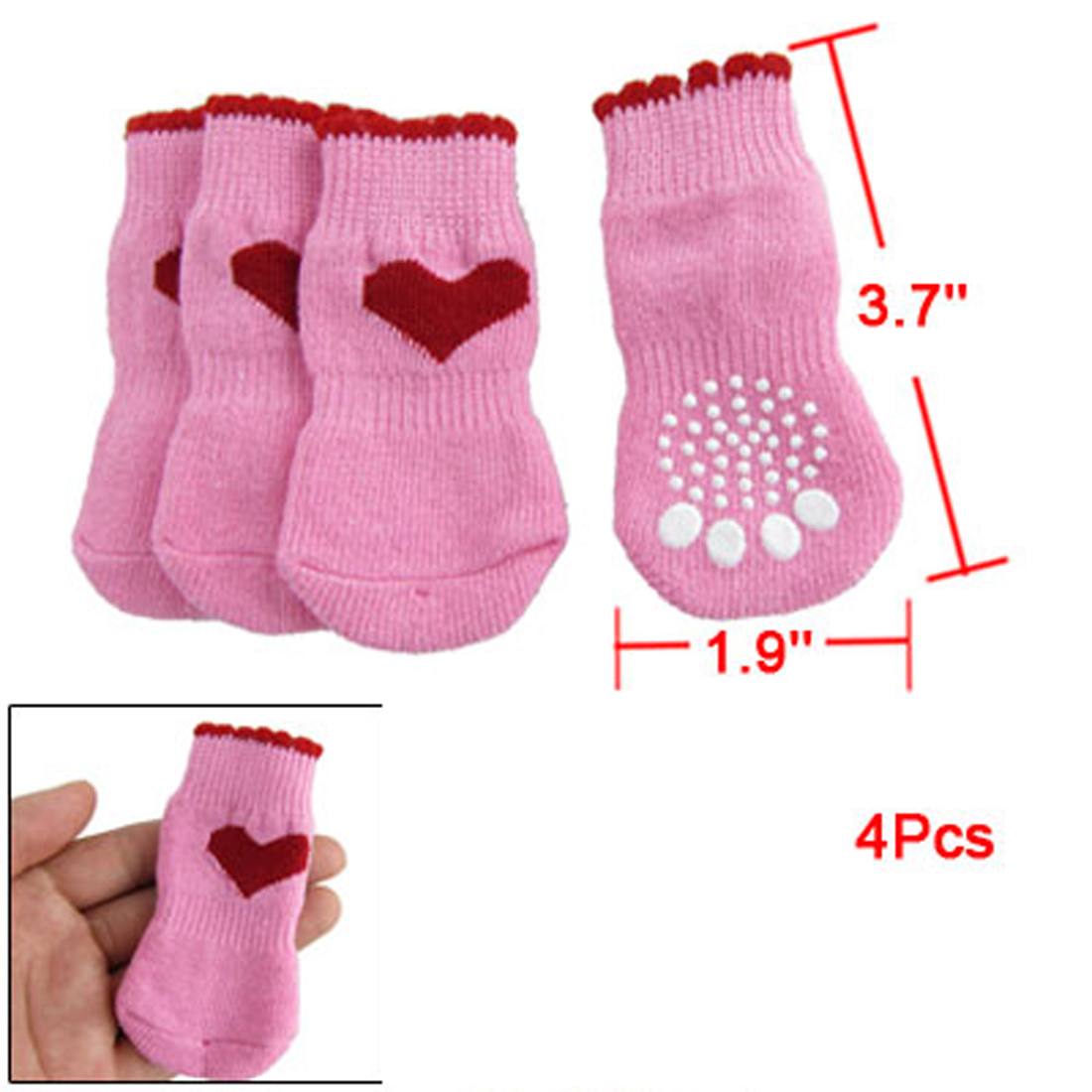 Ribbed Hem Red Heart Print Knitting Winter Socks for Dog Puppy