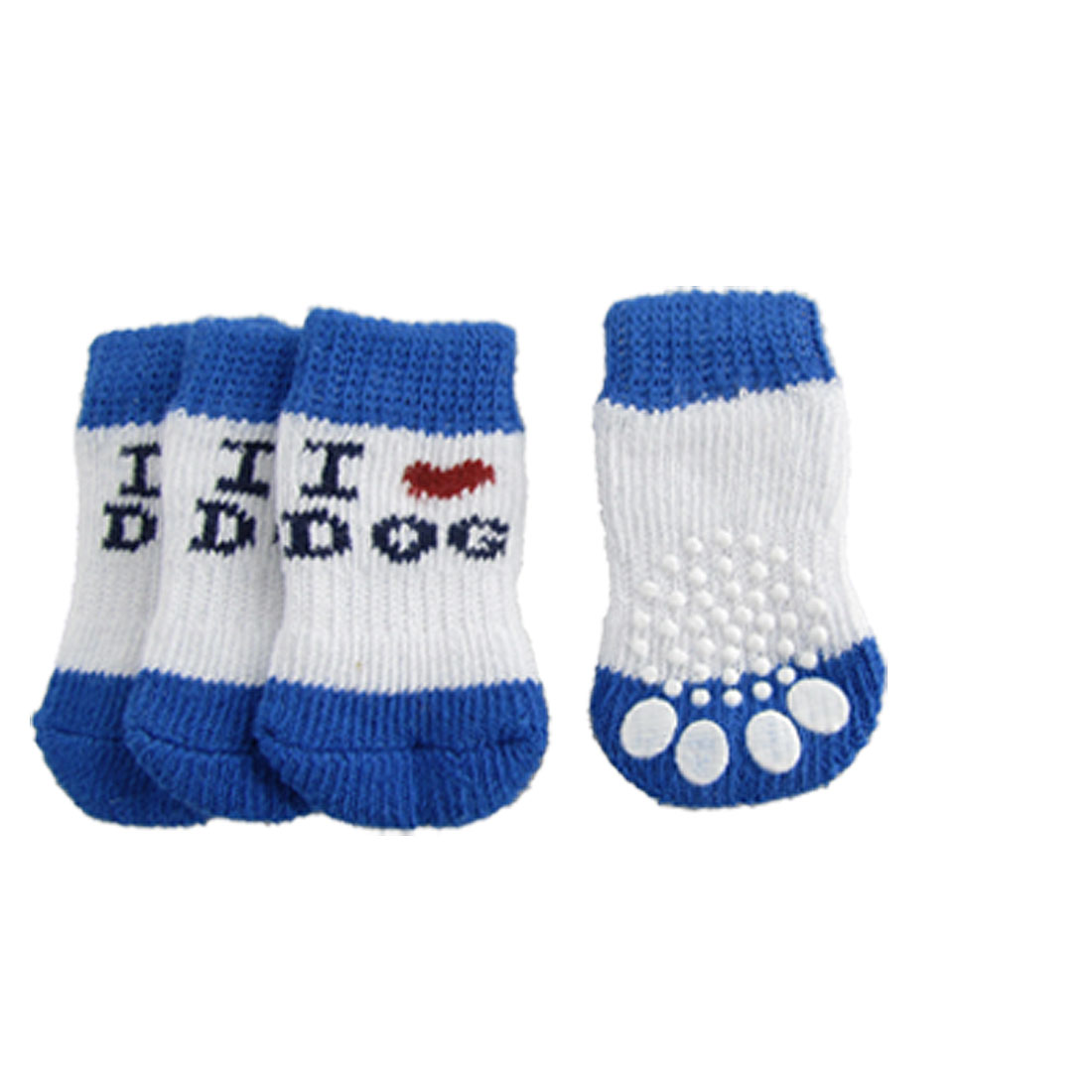 Antislip Bottom Letter Pattern Winter Socks Blue White for Dog